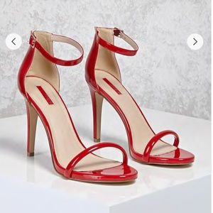 Forever 21 red patent faux leather heels